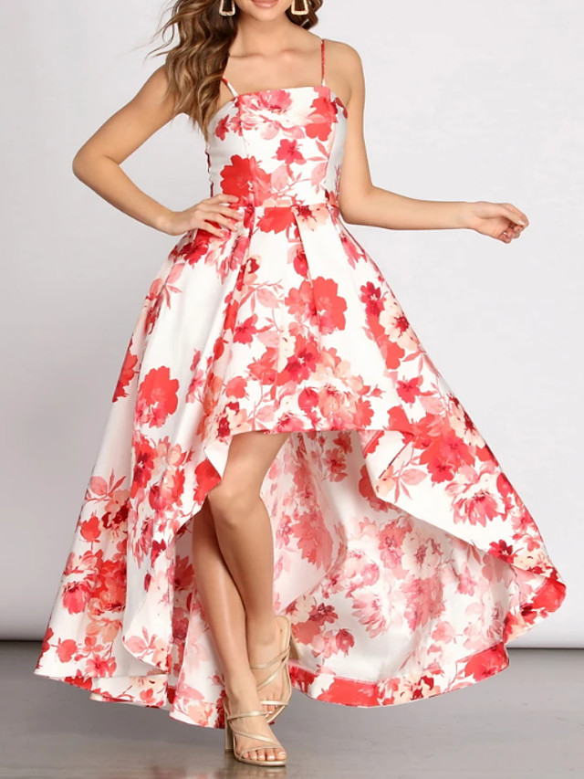A-Line Floral White Holiday Prom Dress Jewel Neck Sleeveless Asymmetrical Nylon Polyester with Pattern / Print 2020