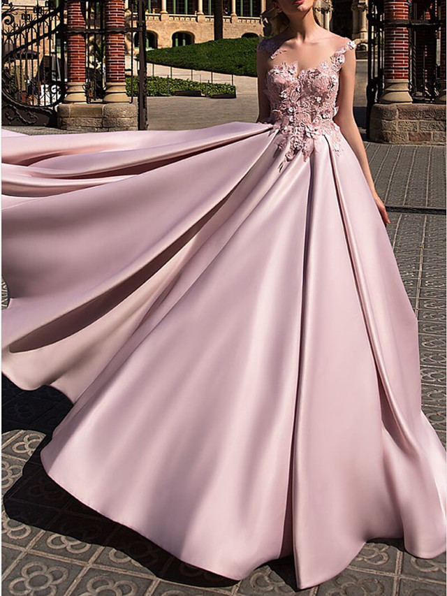 Ball Gown Beautiful Back Pink Engagement Prom Dress Illusion Neck Sleeveless Court Train Polyester with Appliques 2020