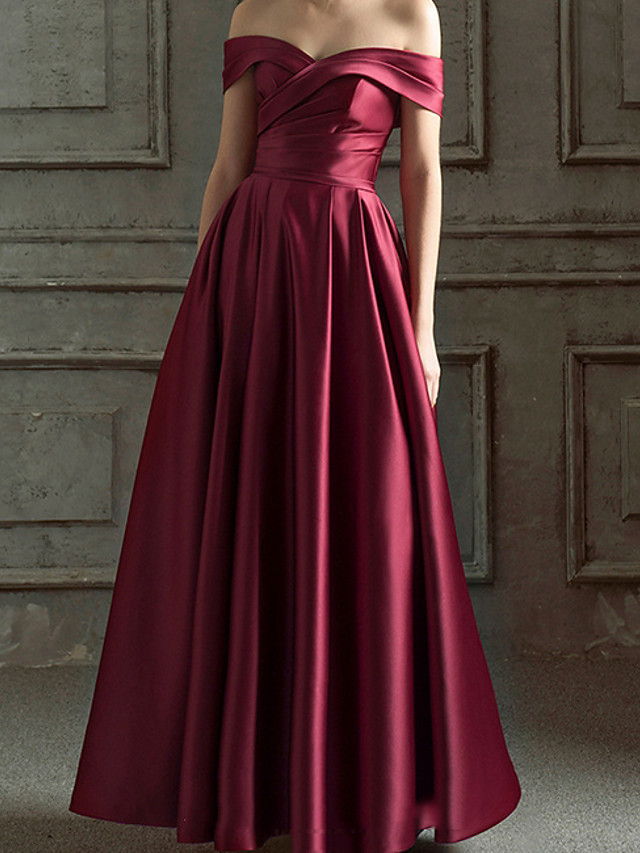 A-Line Minimalist Red Prom Formal Evening Dress Off Shoulder Short Sleeve Floor Length Polyester with Ruched 2020