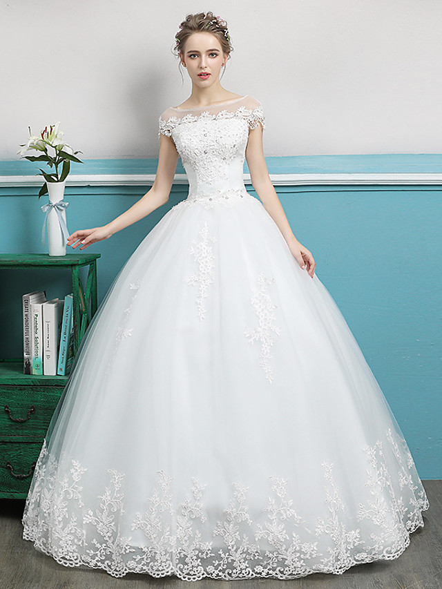 Ball Gown Wedding Dresses Bateau Neck Floor Length Lace Tulle Polyester Short Sleeve Romantic with Lace Crystals 2020