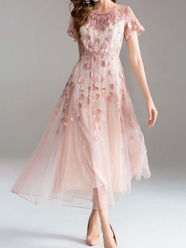 A-Line Mother of the Bride Dress Sweet Jewel Neck Tea Length Tulle Short Sleeve with Embroidery 2020