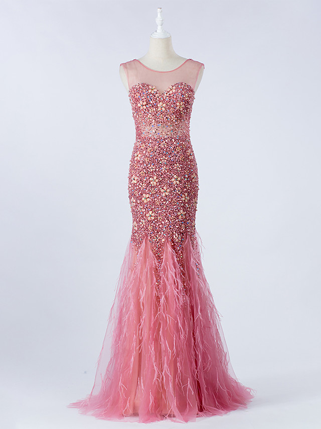 Mermaid / Trumpet Luxurious Pink Engagement Formal Evening Dress Illusion Neck Sleeveless Sweep / Brush Train Tulle with Crystals Beading 2020