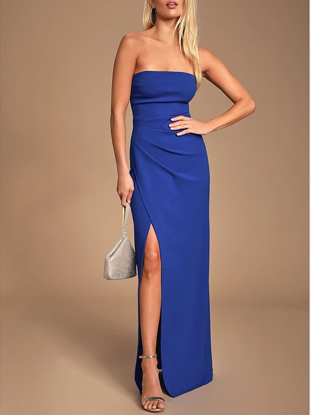 Sheath / Column Sexy Blue Prom Formal Evening Dress Strapless Sleeveless Floor Length Spandex with Pleats Split 2020