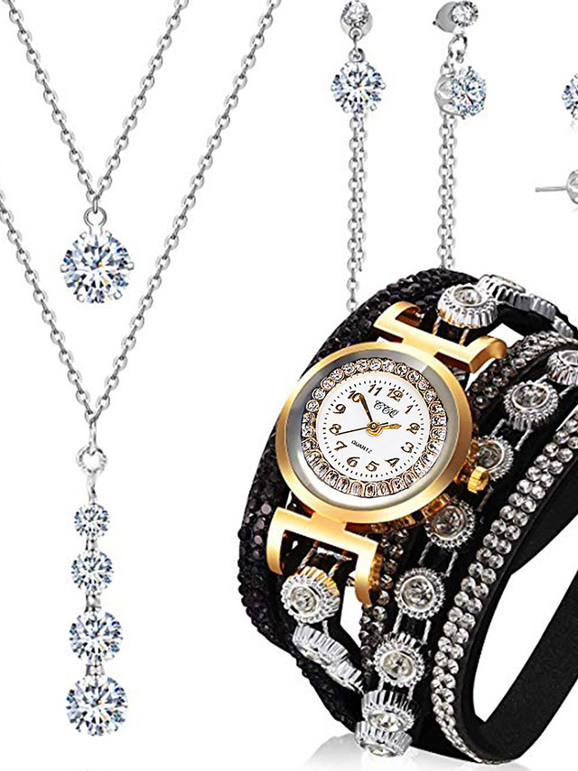 Women's Quartz Watches New Arrival Fashion Black PU Leather Chinese Quartz Black Chronograph New Design Casual Watch 4 Pieces Analog One Year Battery Life