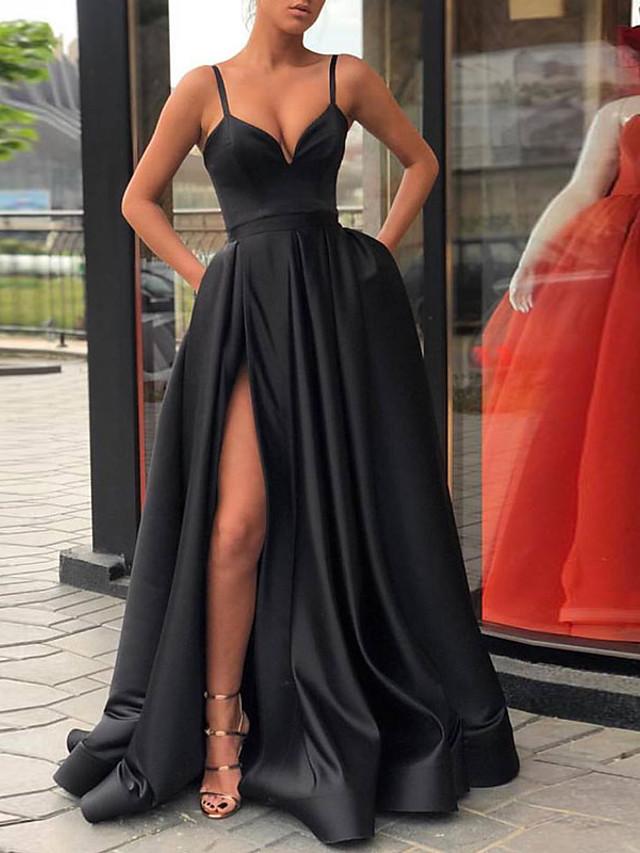 A-Line Celebrity Style Black Prom Formal Evening Dress V Neck Sleeveless Court Train Polyester with Split 2020