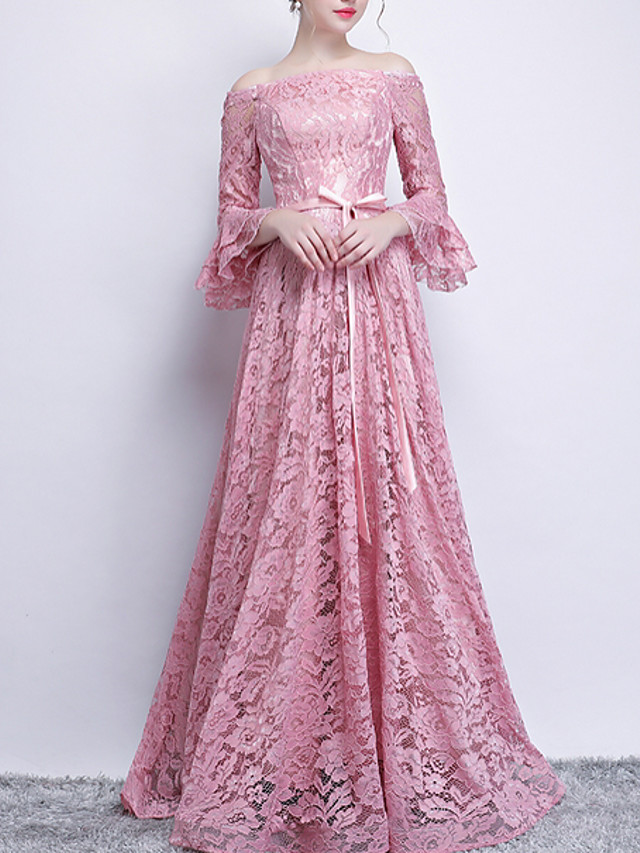 A-Line Vintage Pink Engagement Formal Evening Dress Off Shoulder 3/4 Length Sleeve Sweep / Brush Train Polyester with Sash / Ribbon 2020