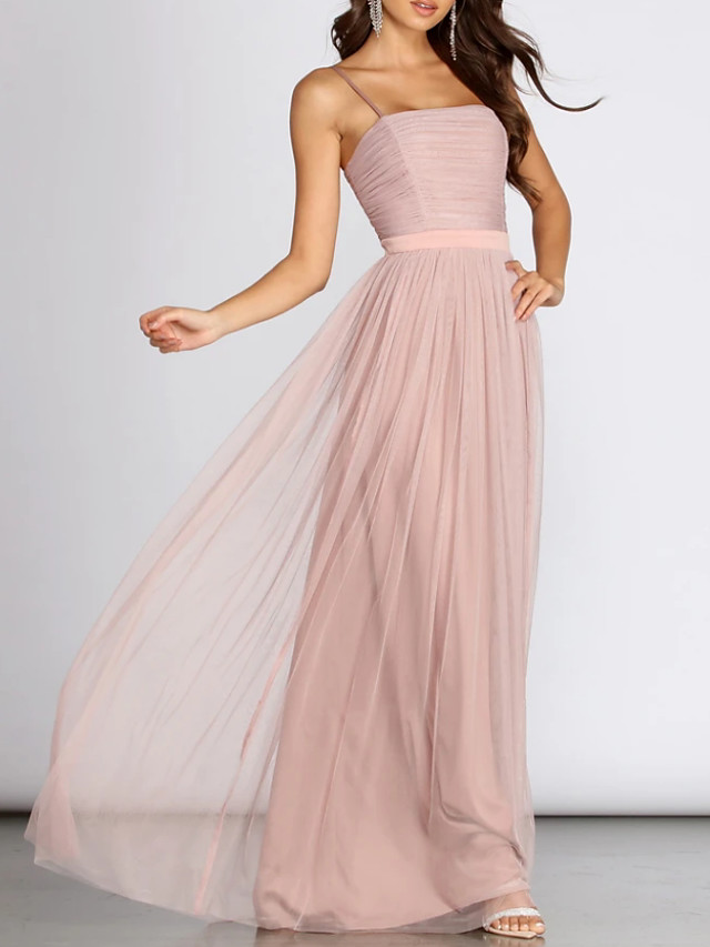 A-Line Empire Pink Wedding Guest Prom Dress Scoop Neck Sleeveless Floor Length Chiffon Polyester with Pleats 2020