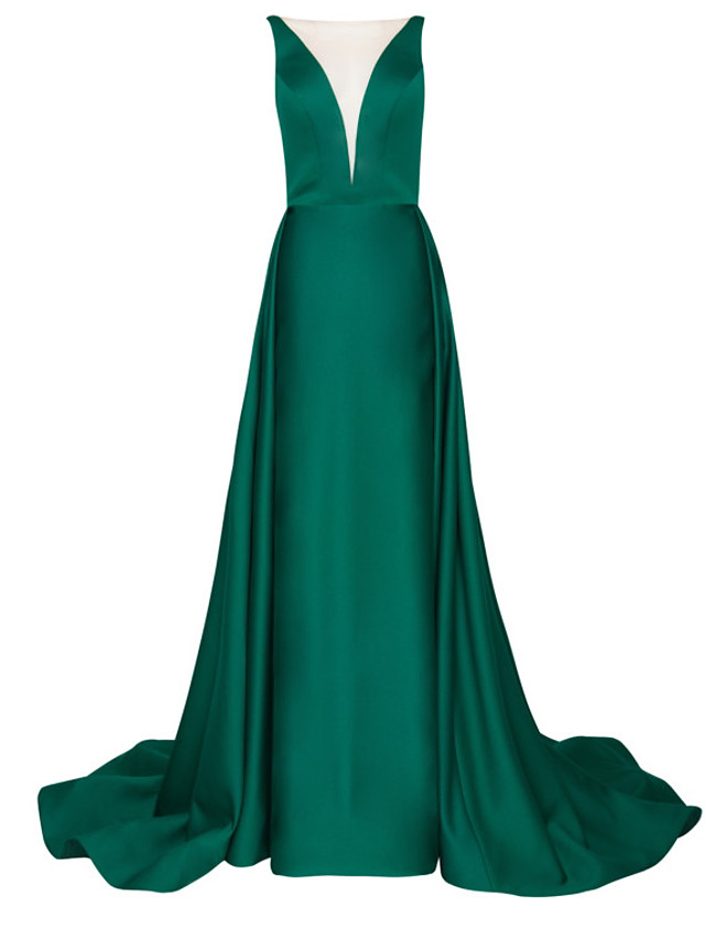 A-Line Elegant Green Engagement Formal Evening Dress Illusion Neck Sleeveless Court Train Polyester with Pleats Overskirt 2020