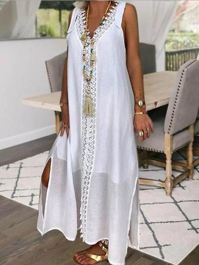 Women's Maxi Shift Dress - Sleeveless Solid Color V Neck Loose White S M L XL XXL XXXL