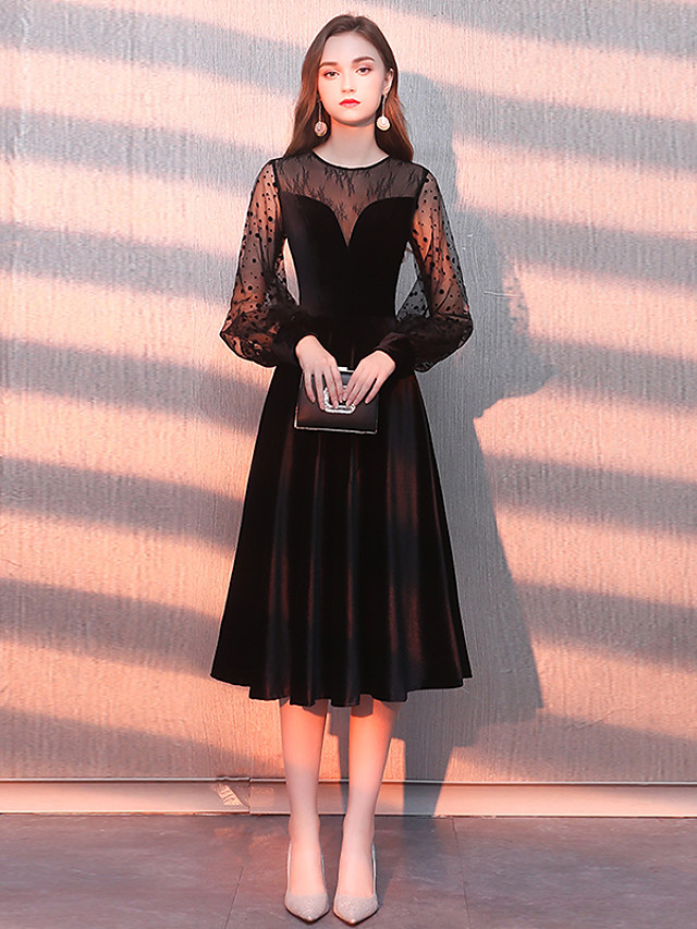 A-Line Little Black Dress Black Homecoming Cocktail Party Dress Jewel Neck Long Sleeve Knee Length Tulle Velvet with Pattern / Print 2020