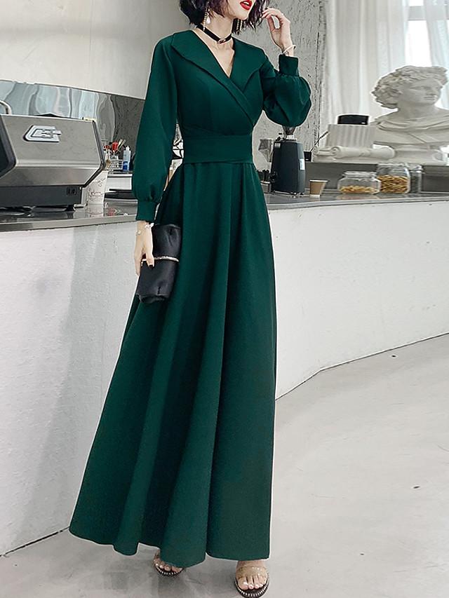 A-Line Elegant Spring Wedding Guest Formal Evening Dress V Neck Long Sleeve Floor Length Spandex with Bow(s) 2020
