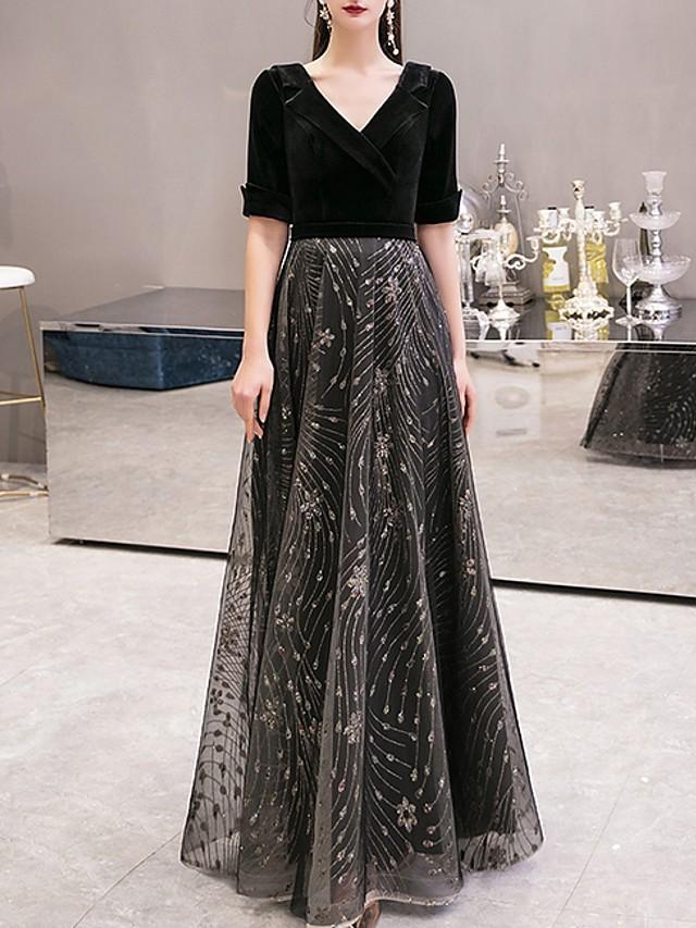 A-Line Sparkle Black Prom Formal Evening Dress V Neck Half Sleeve Floor Length Tulle Velvet with Sequin Appliques 2020
