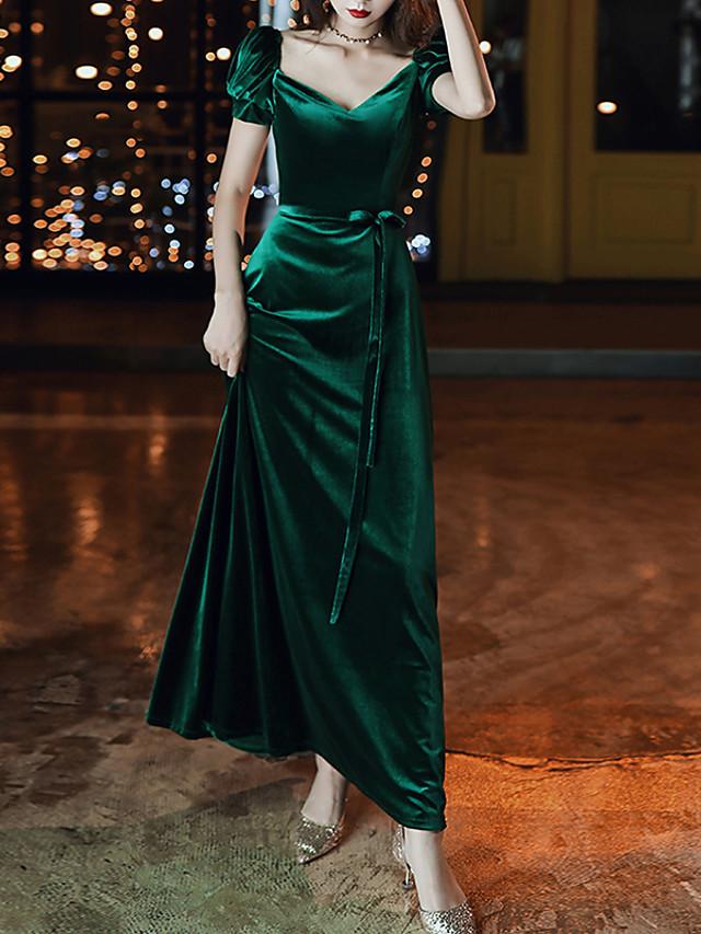 A-Line Green Retro Prom Formal Evening Dress V Neck Short Sleeve Floor Length Velvet with Sash / Ribbon 2020
