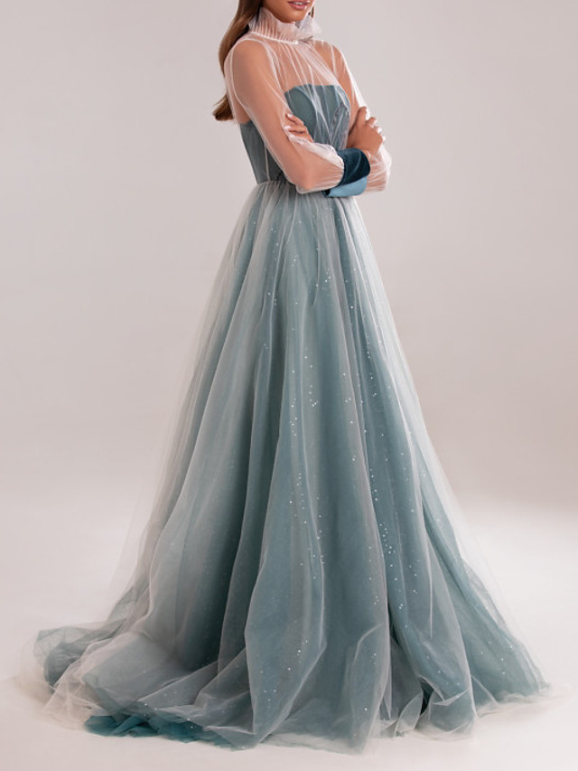 A-Line Elegant Turquoise / Teal Prom Formal Evening Dress High Neck Long Sleeve Sweep / Brush Train Tulle with Sequin 2020