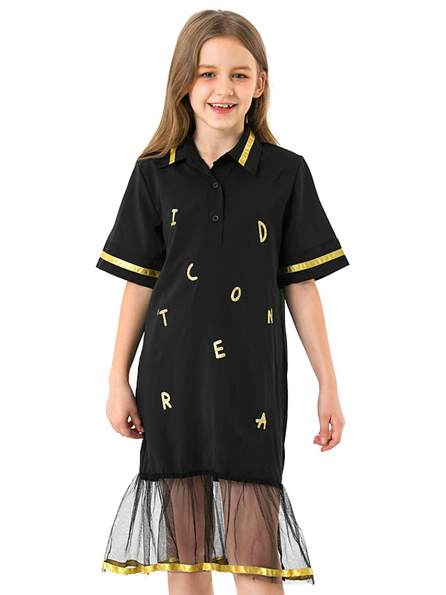 Kids Girls' Cute Sophisticated Solid Colored Number Ruffle Mesh Patchwork Short Sleeve Midi Dress Black