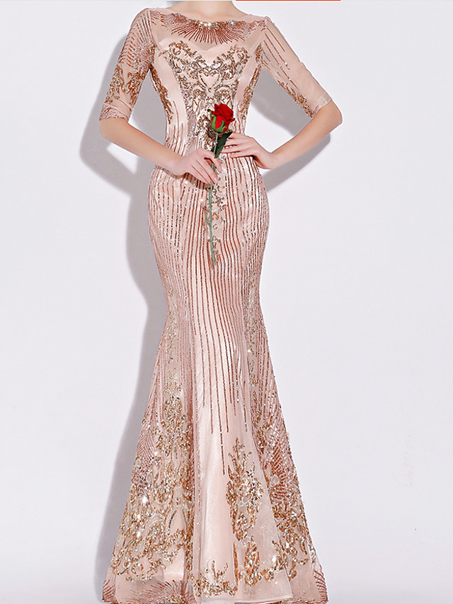 Mermaid / Trumpet Sparkle Pink Engagement Formal Evening Dress Boat Neck Half Sleeve Floor Length Polyester with Sequin Appliques 2020