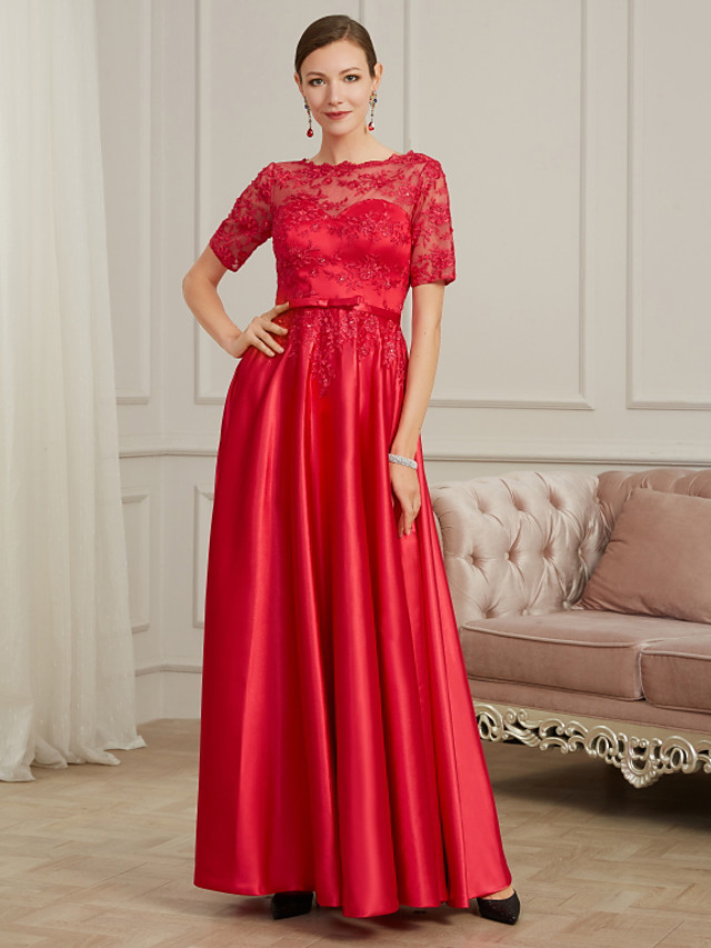 A-Line Elegant Red Wedding Guest Formal Evening Dress Jewel Neck Short Sleeve Floor Length Lace Tulle Polyester with Pleats Beading Appliques 2020