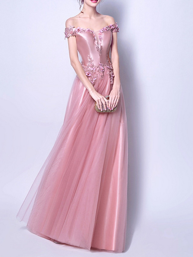 A-Line Pink Spring Engagement Prom Dress Off Shoulder Short Sleeve Floor Length Polyester with Appliques 2020
