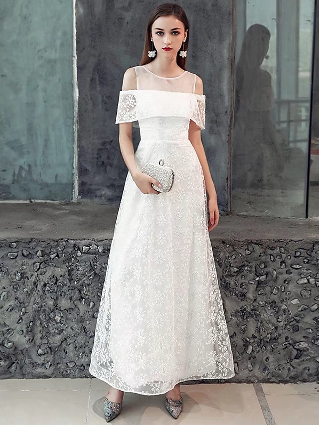 A-Line White Party Wear Formal Evening Dress Illusion Neck Short Sleeve Floor Length Lace Satin with Ruffles Pattern / Print 2020