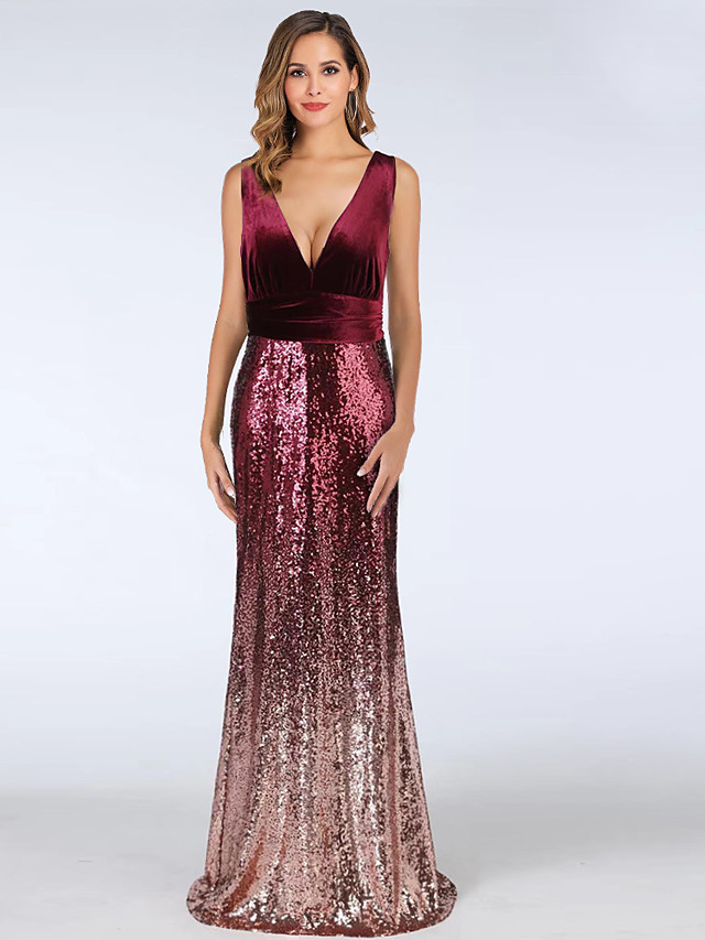 A-Line Color Block Red Wedding Guest Formal Evening Dress V Neck Sleeveless Floor Length Velvet with Sequin 2020