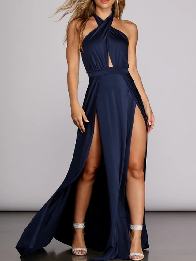 A-Line Sexy Blue Prom Formal Evening Dress Halter Neck Sleeveless Floor Length Polyester with Pleats Split 2020
