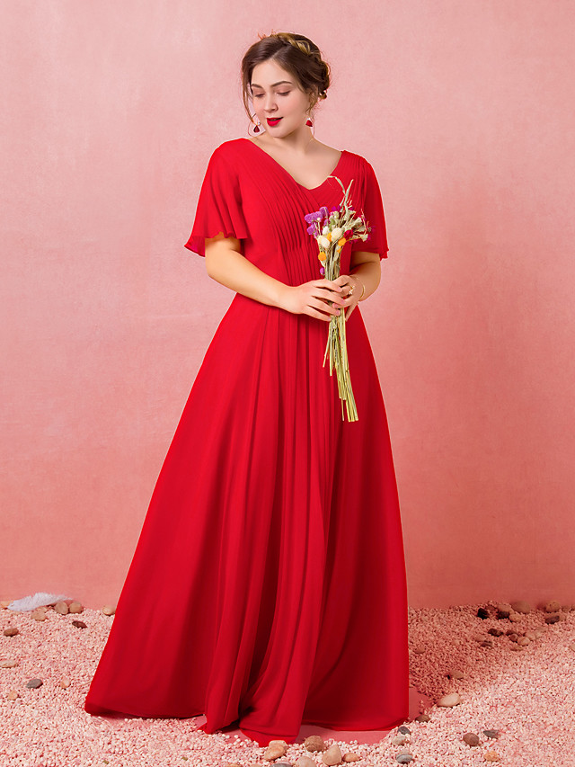 A-Line Plus Size Red Engagement Formal Evening Dress V Neck Short Sleeve Floor Length Chiffon Satin with Pleats 2020