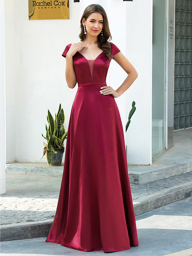 A-Line Red Retro Engagement Prom Dress Illusion Neck Short Sleeve Floor Length Satin with Sash / Ribbon 2020