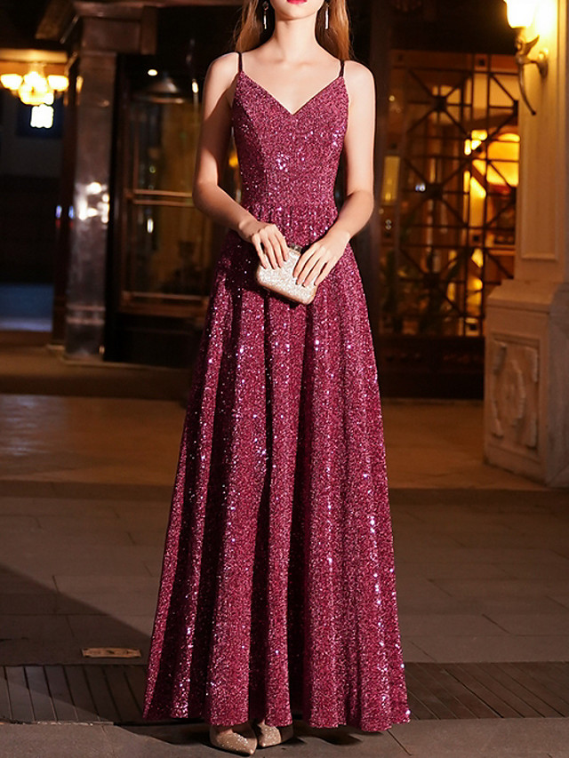 A-Line Sparkle Red Prom Formal Evening Dress Spaghetti Strap Sleeveless Floor Length Polyester with Sequin 2020