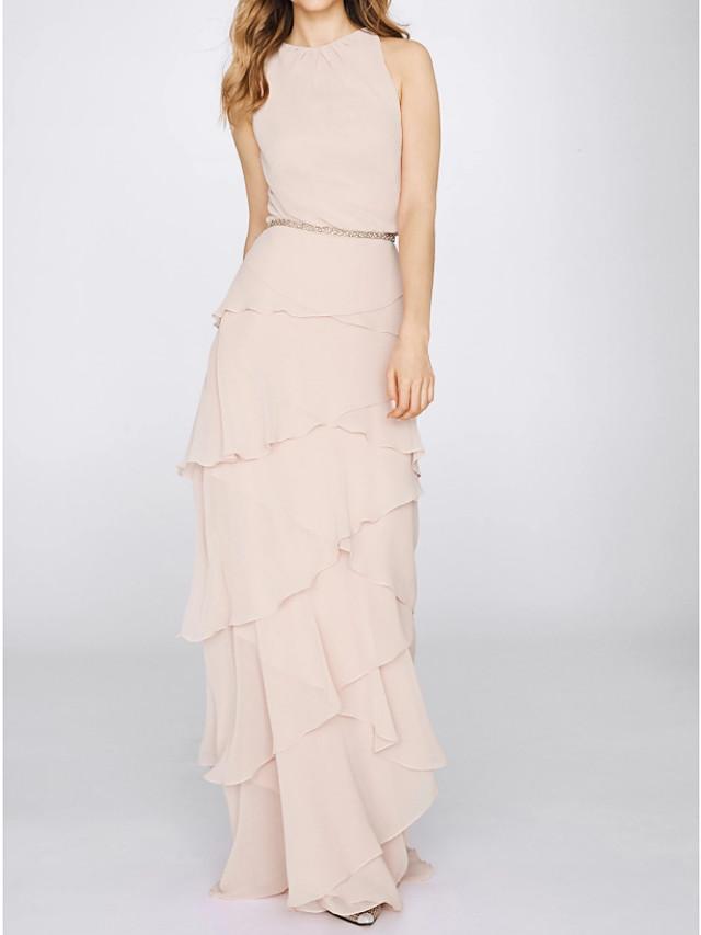 Sheath / Column Elegant Minimalist Engagement Formal Evening Dress Jewel Neck Sleeveless Floor Length Chiffon with Tier 2020