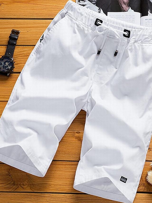 Men's Basic Plus Size Cotton Shorts Pants - Solid Colored White Black Orange US36 / UK36 / EU44 / US38 / UK38 / EU46 / US40 / UK40 / EU48