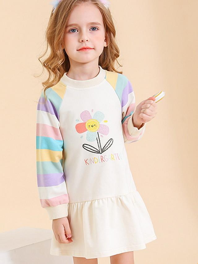Toddler Girls' Floral Color Block Dress Beige