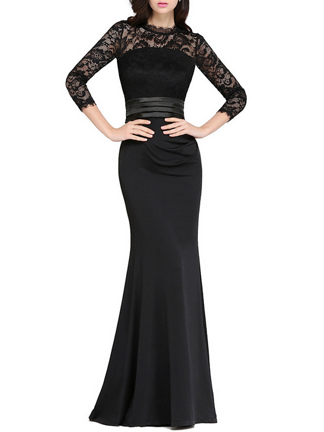Mermaid / Trumpet Elegant Black Wedding Guest Formal Evening Dress Jewel Neck 3/4 Length Sleeve Floor Length Polyester with Appliques 2020
