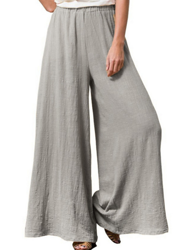 Women's Basic Loose Cotton Wide Leg Pants - Solid Colored Wine Blue Yellow S / M / L