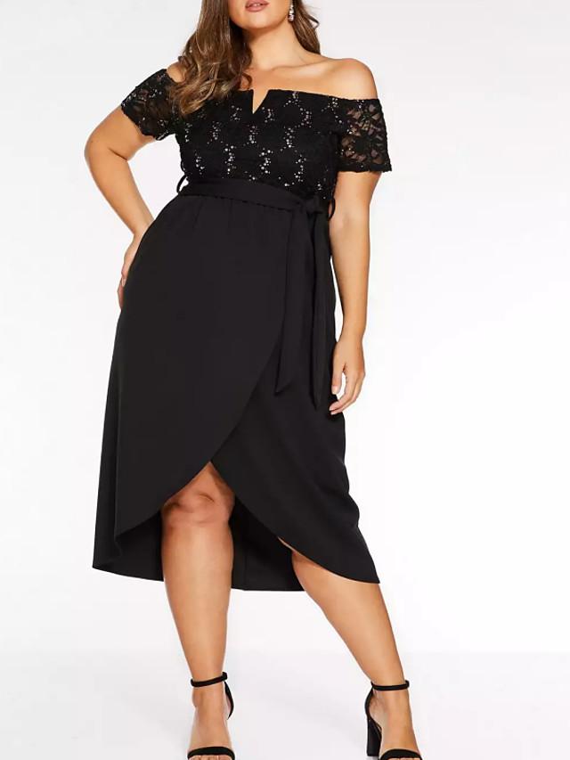 Sheath / Column Plus Size Black Party Wear Prom Dress Off Shoulder Short Sleeve Asymmetrical Polyester with Sash / Ribbon 2020