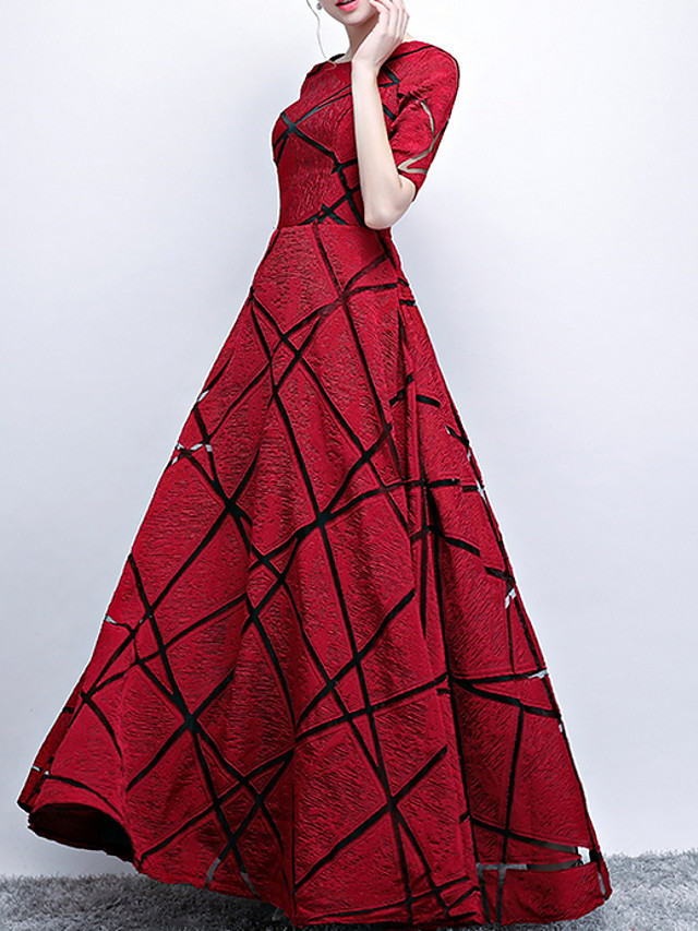 A-Line Elegant Red Engagement Prom Dress Jewel Neck Short Sleeve Floor Length Polyester with Pattern / Print 2020