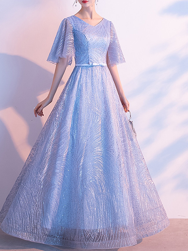 A-Line Glittering Blue Prom Formal Evening Dress V Neck Half Sleeve Floor Length Lace with Bow(s) Sequin 2020