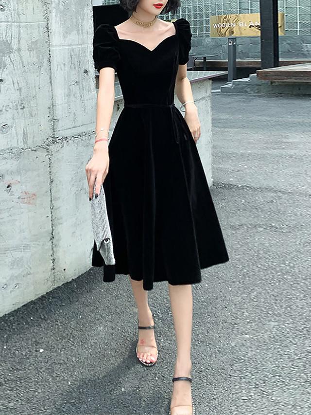 A-Line Black Retro Homecoming Cocktail Party Dress Sweetheart Neckline Short Sleeve Knee Length Velvet with Sash / Ribbon 2020