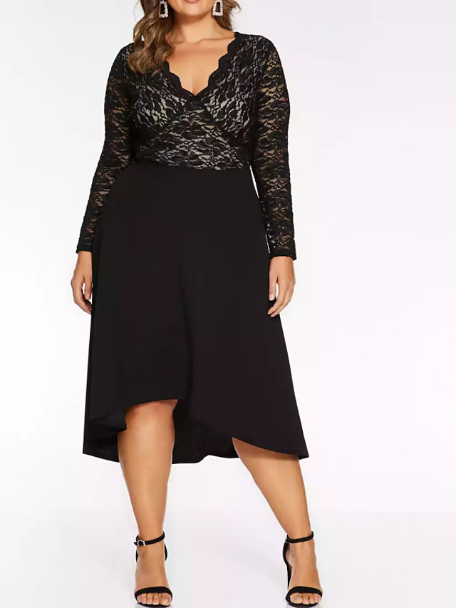 A-Line Plus Size Black Party Wear Cocktail Party Dress Scalloped Neckline Long Sleeve Knee Length Chiffon Lace with Pleats 2020