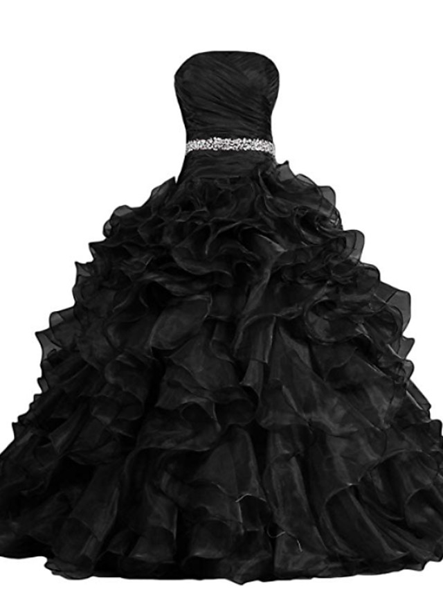 Ball Gown Wedding Dresses Strapless Sweep / Brush Train Polyester Strapless Formal Plus Size Black with Draping Cascading Ruffles 2020