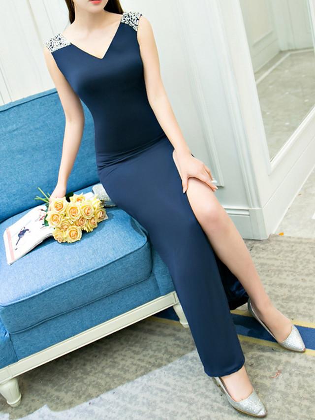 Sheath / Column Minimalist Blue Prom Formal Evening Dress V Neck Sleeveless Floor Length Polyester with Beading Split 2020