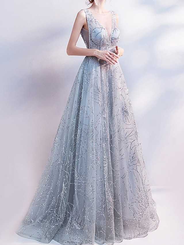 A-Line Glittering Grey Prom Formal Evening Dress V Neck Sleeveless Sweep / Brush Train Polyester with Beading Sequin 2020