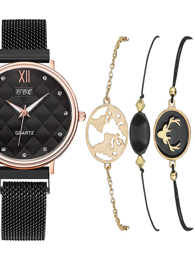 Women's Quartz Watches New Arrival Fashion Black Silver Stainless Steel Chinese Quartz Silver Black Chronograph New Design Casual Watch 1 set Analog One Year Battery Life