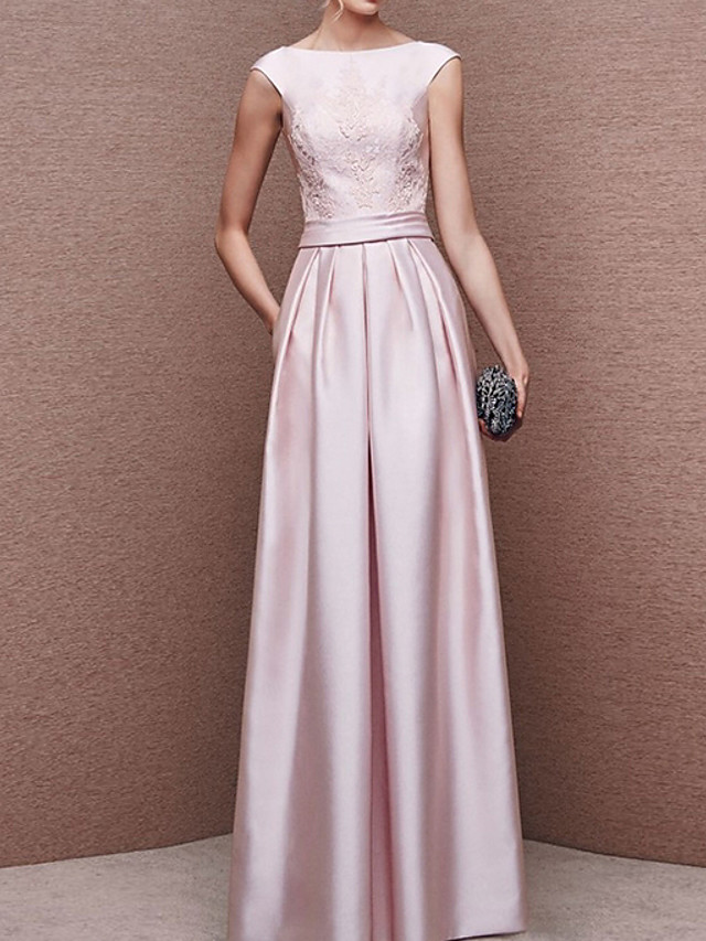 A-Line Elegant Pink Wedding Guest Prom Dress Boat Neck Sleeveless Floor Length Polyester with Pleats 2020