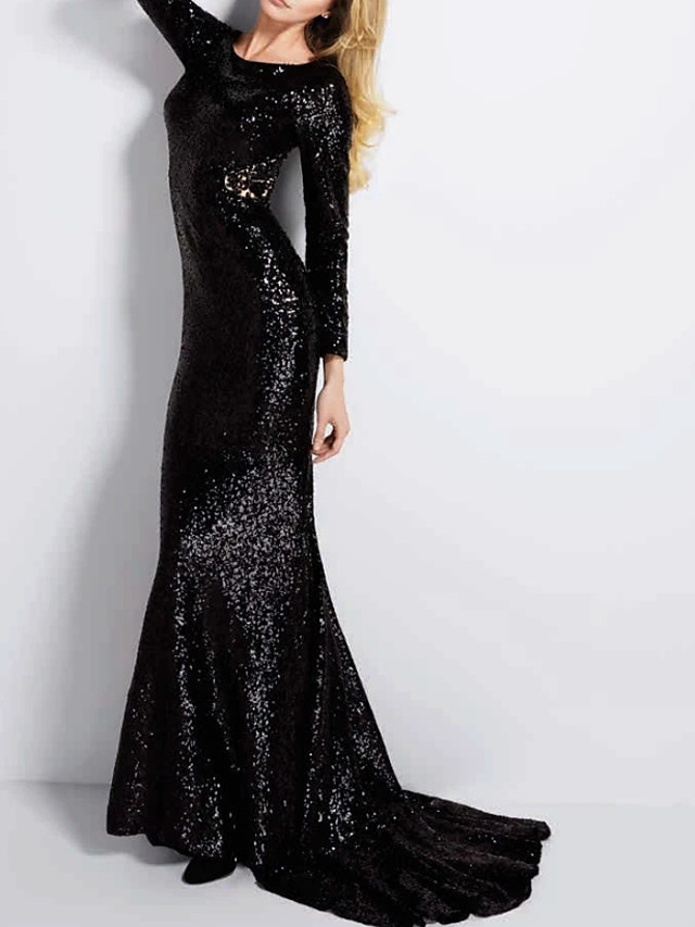 Mermaid / Trumpet Sparkle Black Party Wear Formal Evening Dress Jewel Neck Long Sleeve Sweep / Brush Train Polyester with Sequin 2020
