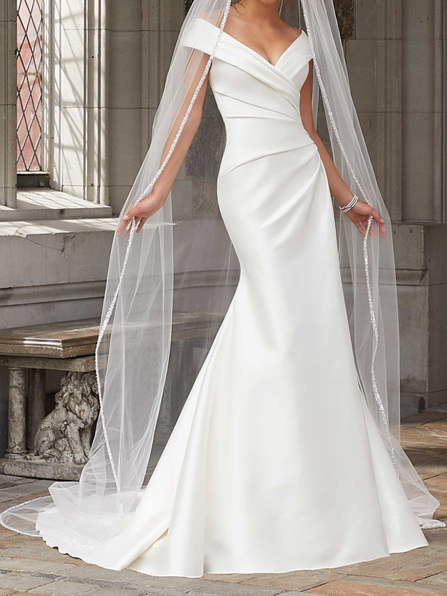Mermaid / Trumpet Wedding Dresses Off Shoulder Sweep / Brush Train Polyester Cap Sleeve Country Plus Size with Ruched Draping 2021