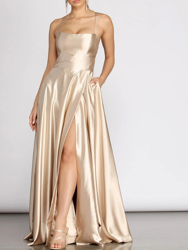 A-Line Glittering Sexy Prom Formal Evening Dress Scoop Neck Sleeveless Floor Length Charmeuse with Pleats Split 2020