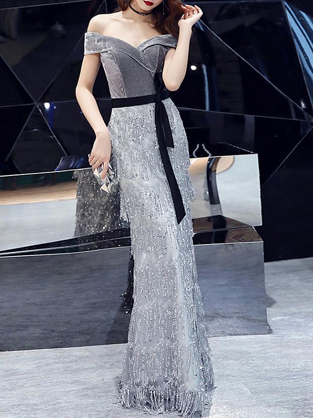 Mermaid / Trumpet Glittering Grey Engagement Formal Evening Dress Off Shoulder Short Sleeve Floor Length Sequined Velvet with Sequin Tassel 2020