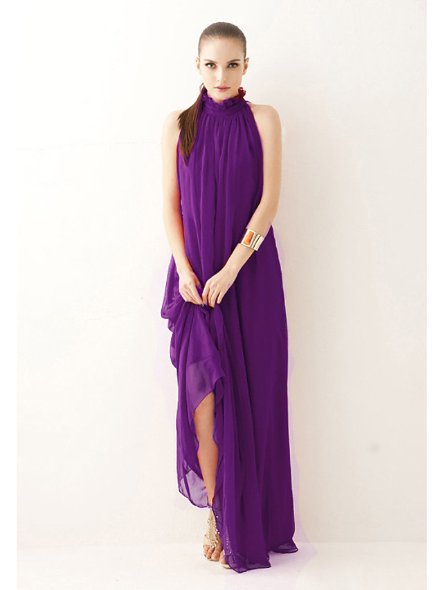 A-Line Empire Purple Holiday Formal Evening Dress High Neck Sleeveless Floor Length Chiffon with Sash / Ribbon Bow(s) 2020