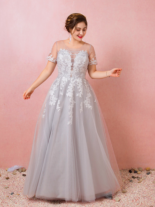 Ball Gown Plus Size Prom Formal Evening Dress Illusion Neck Short Sleeve Floor Length Lace Satin Tulle with Appliques 2021