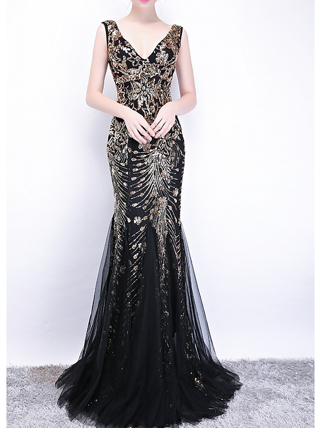 Mermaid / Trumpet Sexy Black Engagement Formal Evening Dress V Neck Sleeveless Sweep / Brush Train Polyester with Sequin Appliques 2020